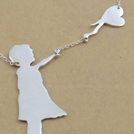Banksy There is Hope silver necklace