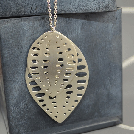 Long sterling silver seed pod necklace