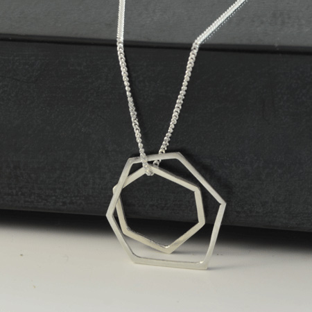 Double geometric silver necklace